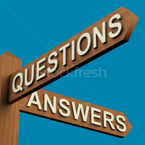 Sorular cevaplar tabelasını ahşap imzalamak Stok fotoğraf © stuartmiles