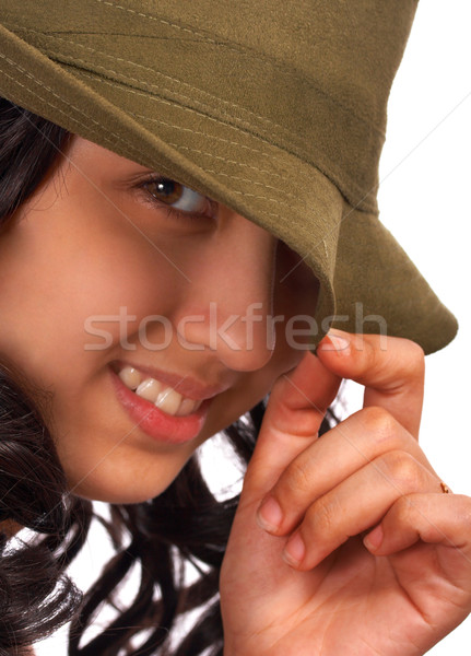 Smiling And Cheeky Girl With A Hat Stock photo © stuartmiles