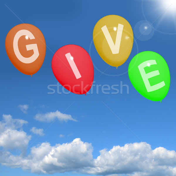 Give Word On Balloons Showing Charity Donations And Generous Ass Stock photo © stuartmiles