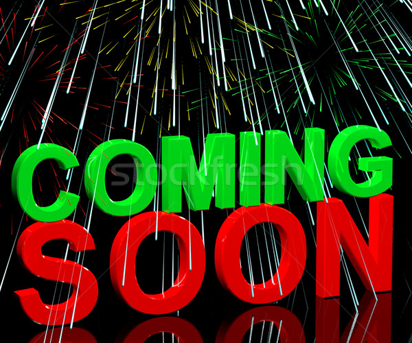 Coming Soon Words With Fireworks Showing New Product Arrival Ann Stock photo © stuartmiles