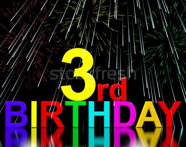 Derde verjaardag vuurwerk display Blauw viering Stockfoto © stuartmiles
