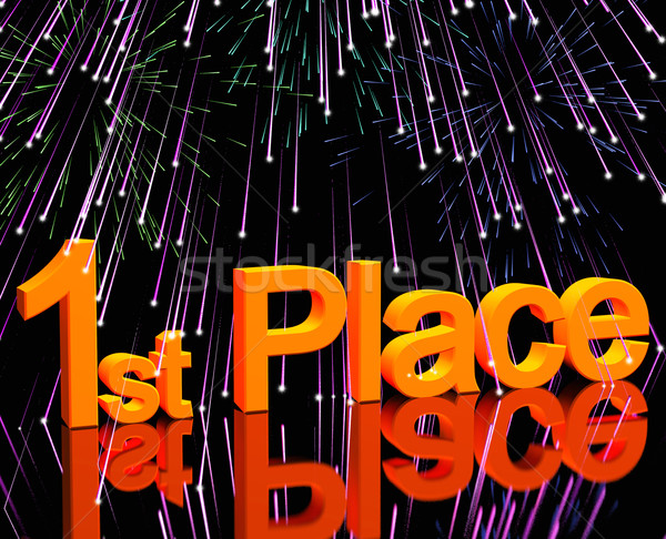 1st Place Word And Fireworks To Show Winning And Victory Stock photo © stuartmiles