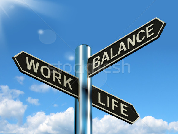 Stock fotó: Munka · élet · egyensúly · útjelző · tábla · mutat · karrier
