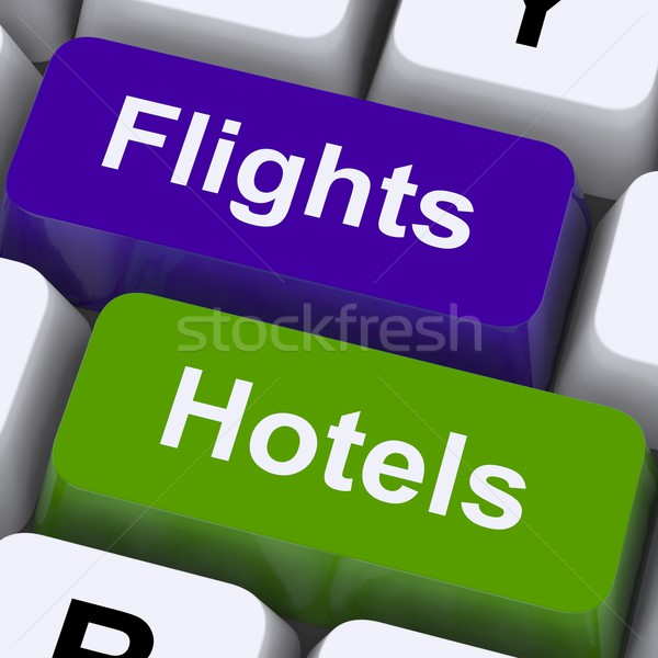Flights And Hotel Keys For Overseas Vacations Stock photo © stuartmiles