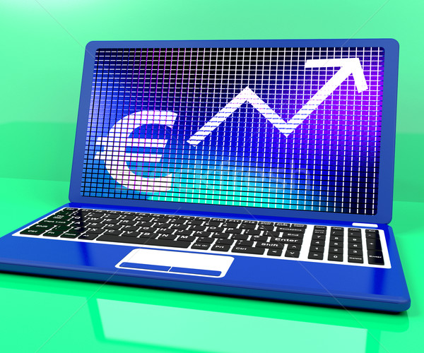 Euro Sign And Up Arrow On Laptop For Earnings Or Profit Stock photo © stuartmiles
