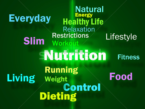 Nutrition Words Shows Healthy Food Vitamins Nutrients And Nutrit Stock photo © stuartmiles