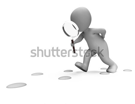 Nyomozó karakter lábnyomok talál nyomozás mutat Stock fotó © stuartmiles