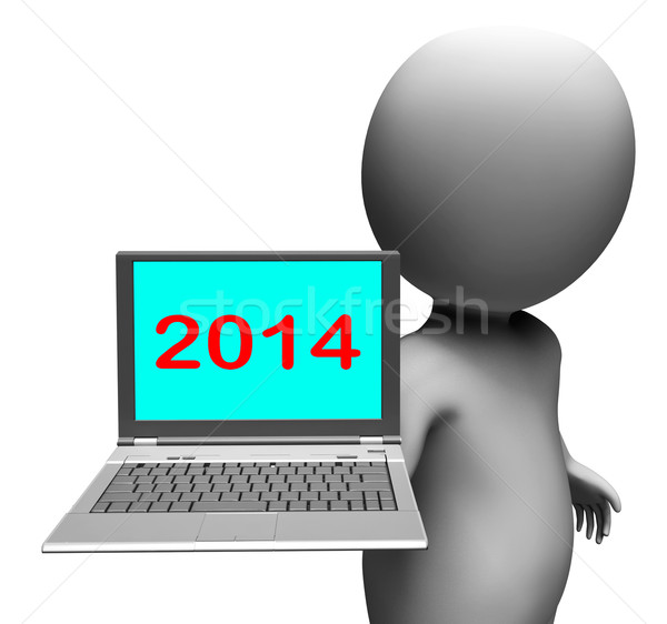 Two Thousand And Fourteen Character And Laptop Shows New Year 20 Stock photo © stuartmiles