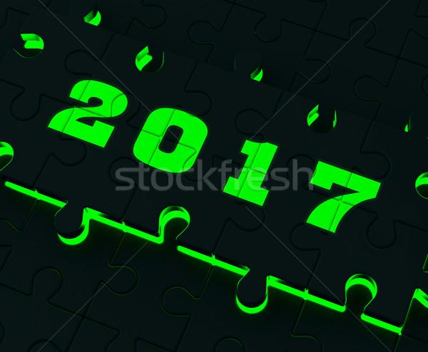 Kettő ezer tizenhét puzzle év döntés Stock fotó © stuartmiles