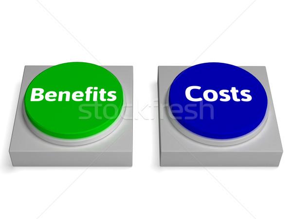 Stock fotó: Előnyök · gombok · költség · haszon · elemzés · mutat