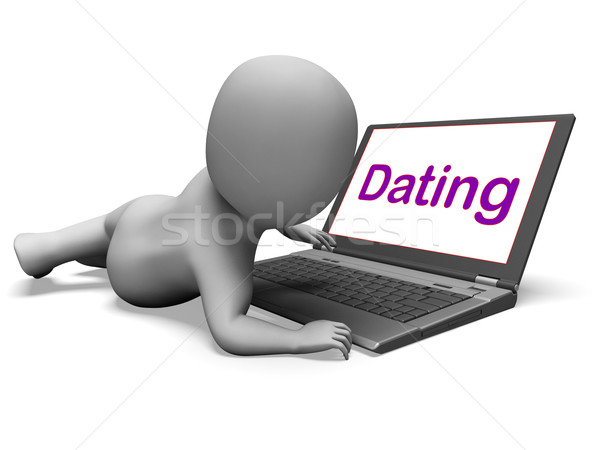 Online dating karakter laptop romantiek web Stockfoto © stuartmiles