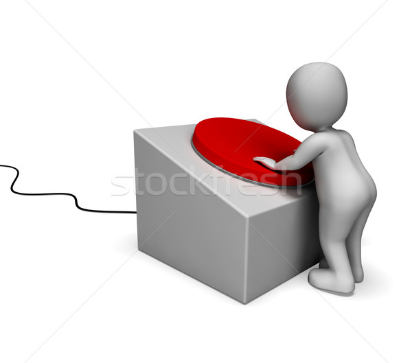 Man Pushing Red Button Showing Controlling Stock photo © stuartmiles