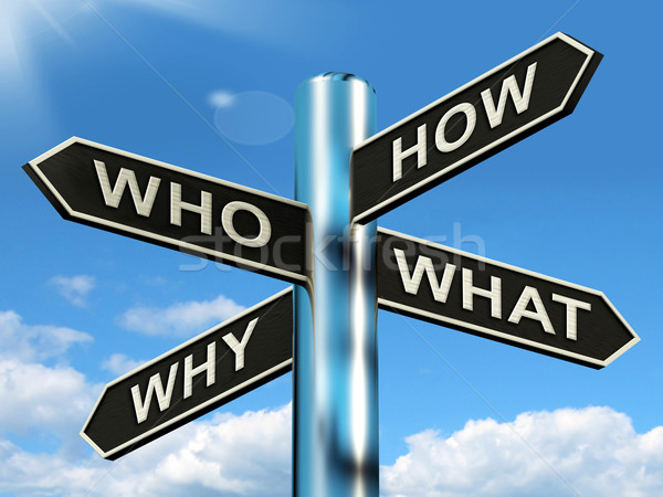 Who How Why What Questions Mean Researching And Investigating Stock photo © stuartmiles