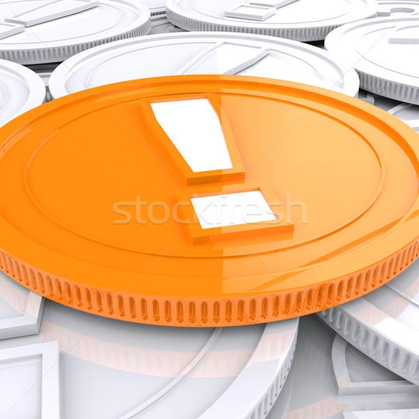 Photo stock: Point · d'exclamation · pièce · financière · choc · danger