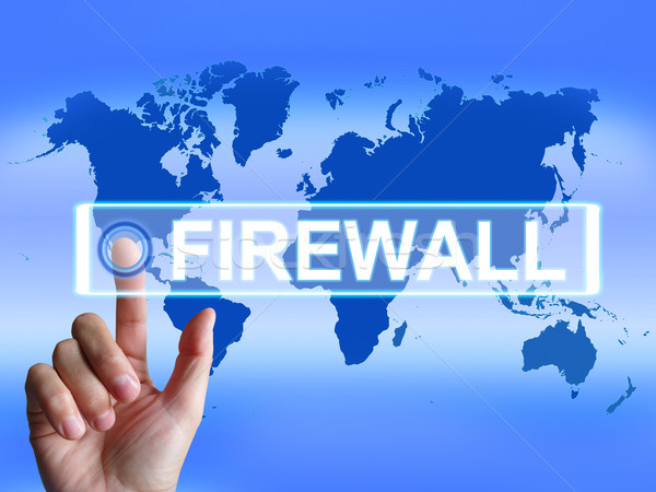 Firewall Pokaż Internetu bezpieczeństwa bezpieczeństwa ochrony Zdjęcia stock © stuartmiles