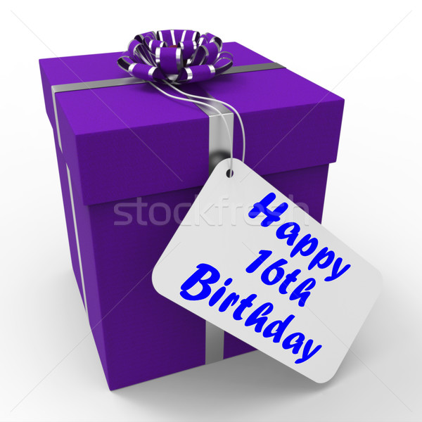 Happy 16th Birthday Gift Means Congratulations Age Sixteen Stock photo © stuartmiles