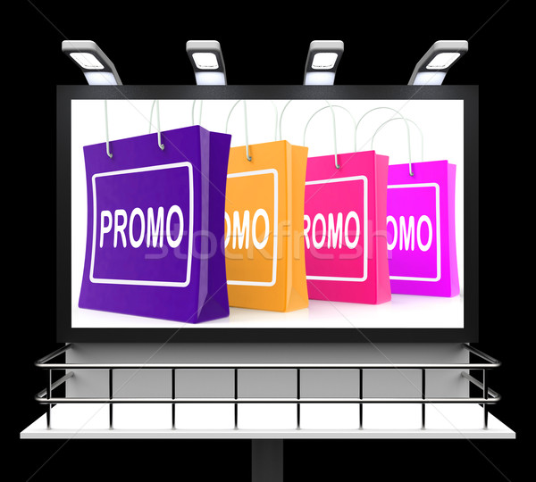 Stock photo: Promo Shopping Sign Shows Discount Reduction Or Save