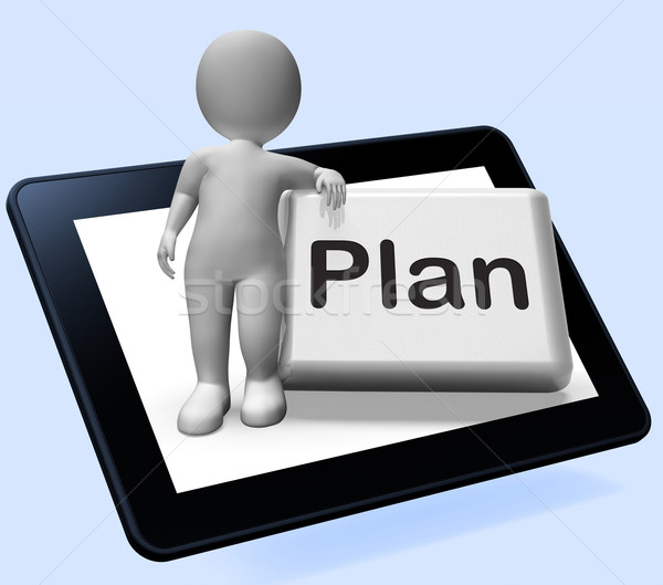 Plan Button With Character Shows Objectives Planning And Organiz Stock photo © stuartmiles