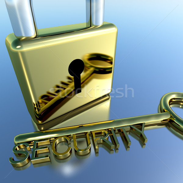 Padlock With Security Key Showing Protection Encryption And Safe Stock photo © stuartmiles