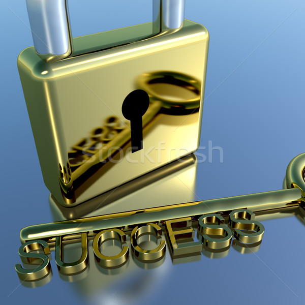 Padlock With Success Key Showing Strategy Planning And Solutions Stock photo © stuartmiles