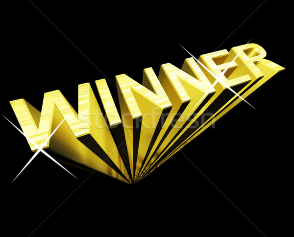 Winner Text In Gold And 3d As Symbol For Success And Victory Stock