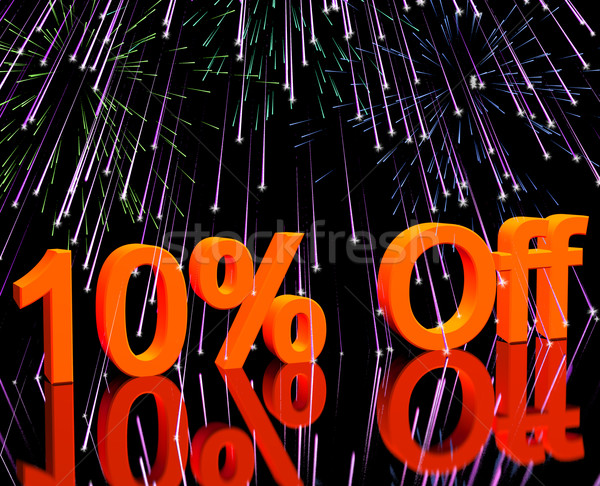 Stock photo: 10% Off With Fireworks Showing Sale Discount Of Ten Percent