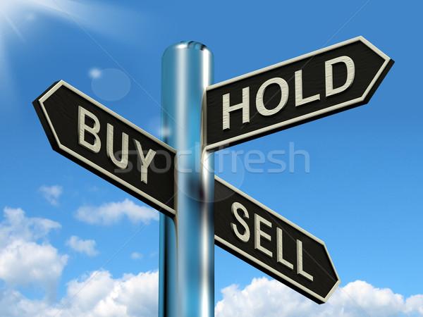 Foto d'archivio: Buy · tenere · vendere · cartello · strategia · mercato