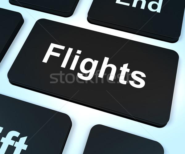 Repülőjáratok számítógép kulcs vakáció ünnep előre bejelentkezés Stock fotó © stuartmiles