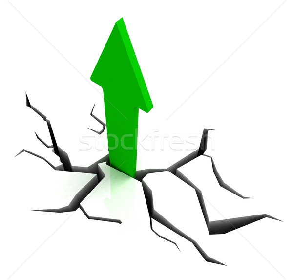 Green Upward Arrow Shows Breakthrough Stock photo © stuartmiles