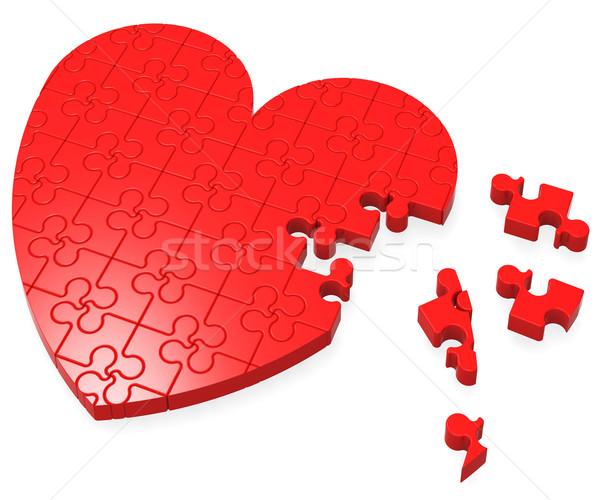 Serca puzzle romans małżeństwa Zdjęcia stock © stuartmiles