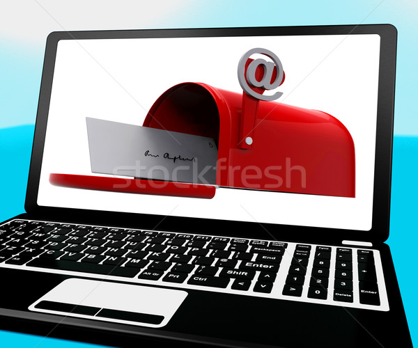 Mail Box On Notebook Shows Email Inbox Stock photo © stuartmiles