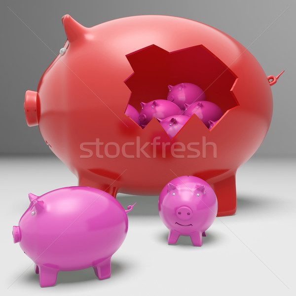 Piggybanks Inside Piggybank Showing Saving Accounts And Banking Stock photo © stuartmiles