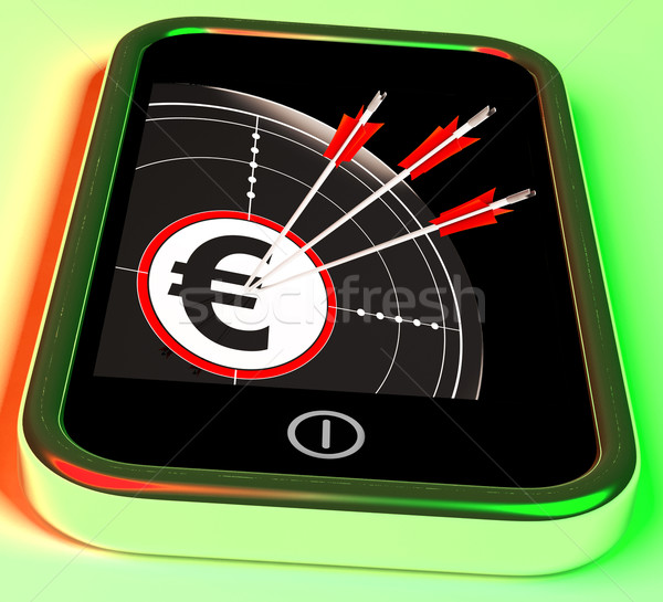 Euro szimbólum okostelefon mutat európai profit Stock fotó © stuartmiles