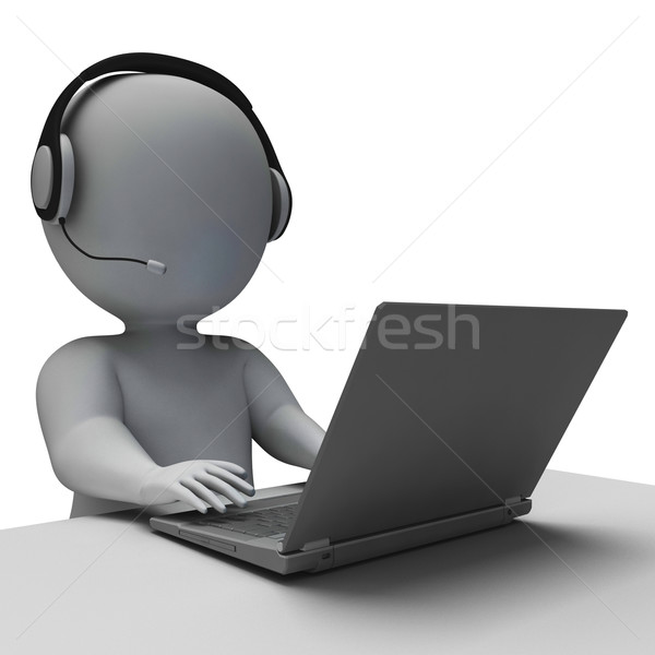Helpdesk hotline exploitant tonen call center dienst Stockfoto © stuartmiles