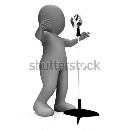 Cantante carácter música micrófono karaoke concierto Foto stock © stuartmiles