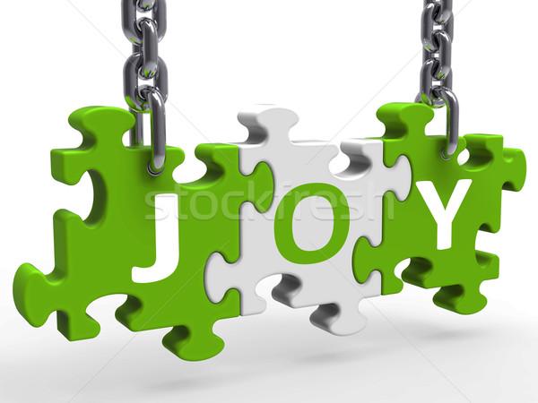 Joy Puzzle Shows Fun Cheerful Joyful And Enjoy Stock photo © stuartmiles