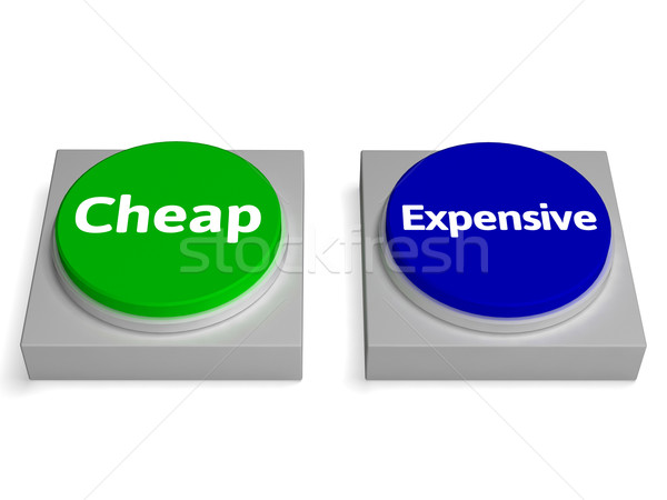Cheap Expensive Buttons Shows Discount Or Costly Stock photo © stuartmiles