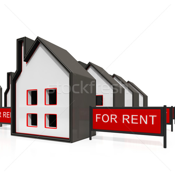 House For Rent Sign Shows Rental Stock photo © stuartmiles