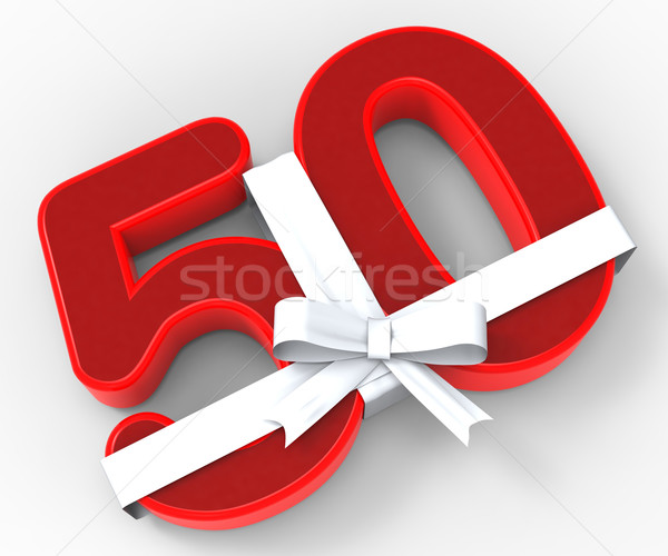 Number Fifty With Ribbon Means Happiness And Celebrations Stock photo © stuartmiles