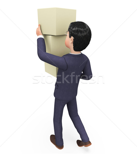 Businessman Carrying Boxes Indicates Trade Product And Packet Stock photo © stuartmiles