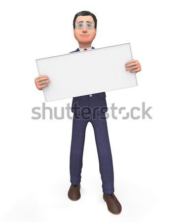 Businessman With Signboard Shows Blank Space And Announce Stock photo © stuartmiles