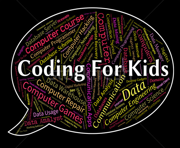 Coding For Kids Represents Program Ciphers And Toddlers Stock photo © stuartmiles