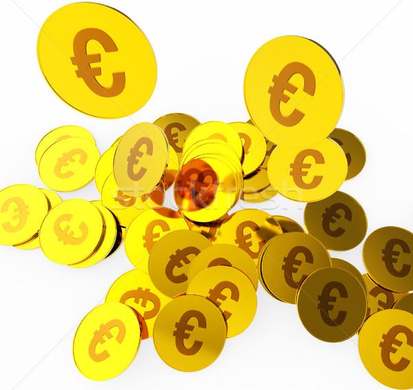 Euro érmék pénz pénzügy valuta eurók Stock fotó © stuartmiles