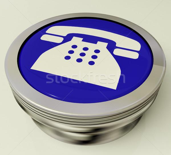 Telefon ikona metaliczny przycisk symbol wzywając Zdjęcia stock © stuartmiles