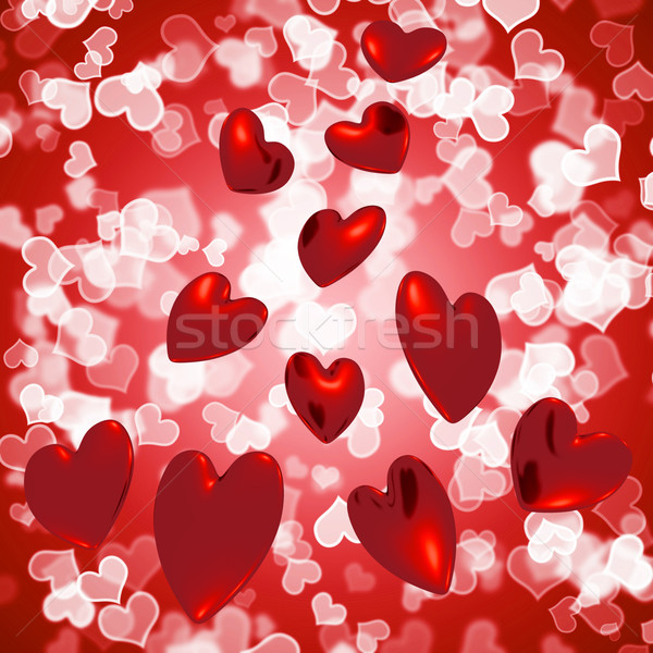 Hearts Falling With Bokeh Background Showing Love And Romance Stock photo © stuartmiles