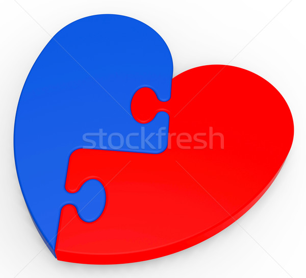 Stock photo: Two-Colored Heart Puzzle Showing Romance