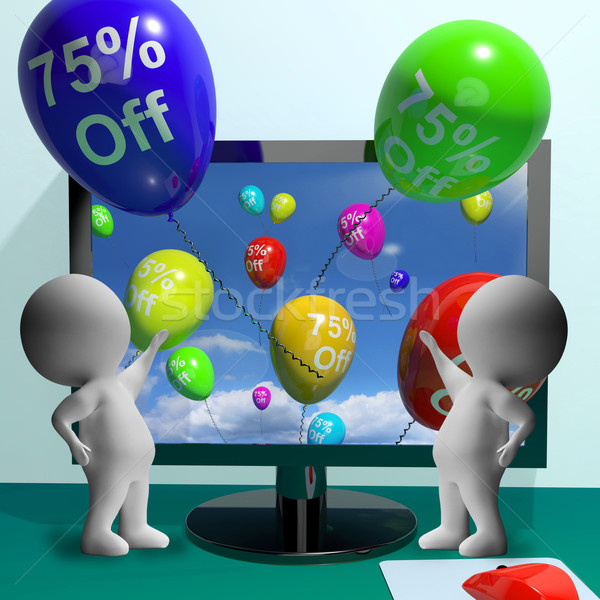 Balloons From Computer Showing Sale Discount Of Seventy Five Per Stock photo © stuartmiles