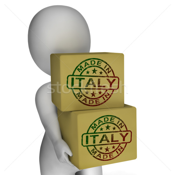 Stok fotoğraf: İtalya · damga · kutuları · İtalyan · ürünleri