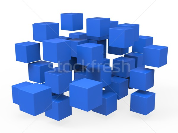 Exploded Blocks Shows Unorganized Puzzle Stock photo © stuartmiles