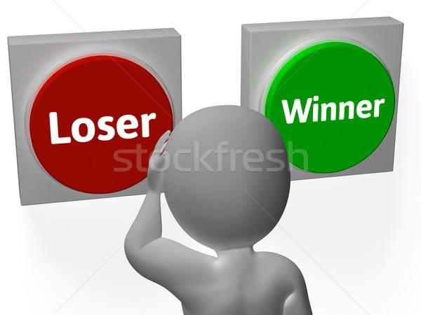 Mağlup kazanan düğmeler göstermek kumarbaz Stok fotoğraf © stuartmiles